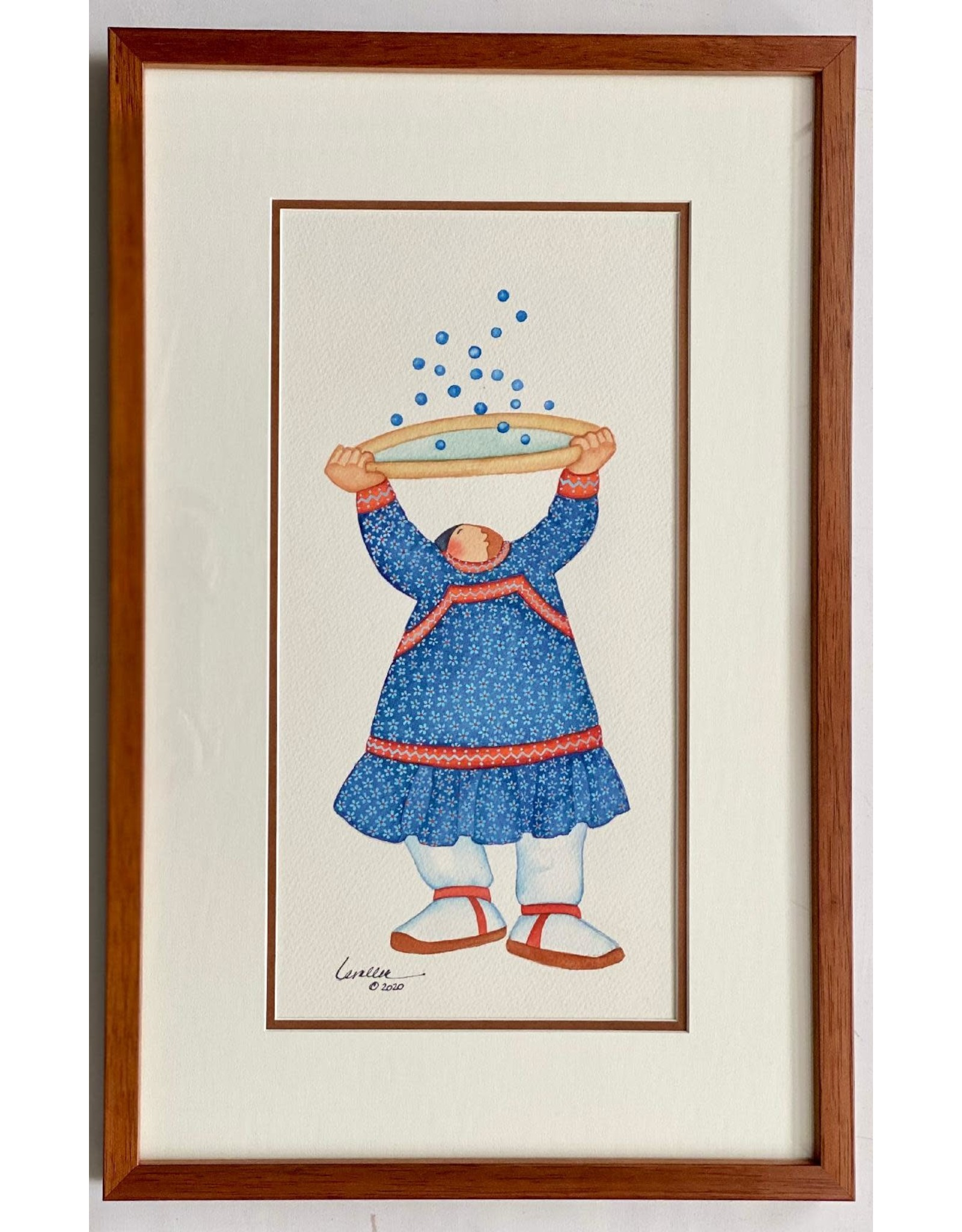 "Barbara Lavallee Barbara Lavallee ""Berry Bounce"" Original Watercolor framed"