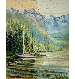 "Brenda Schwartz Yeager Brenda Schwartz Yeager ""Anchored at St James"" Original Watercolor framed"