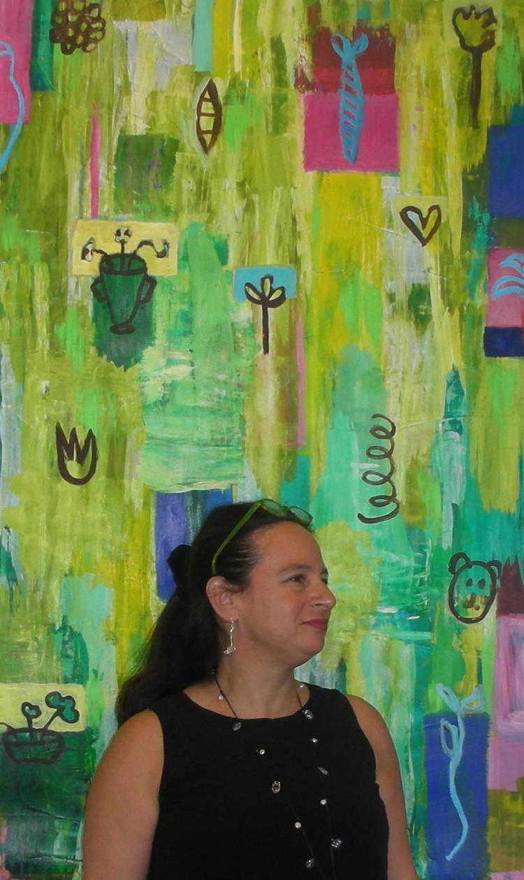 pamela smilow in front of painting