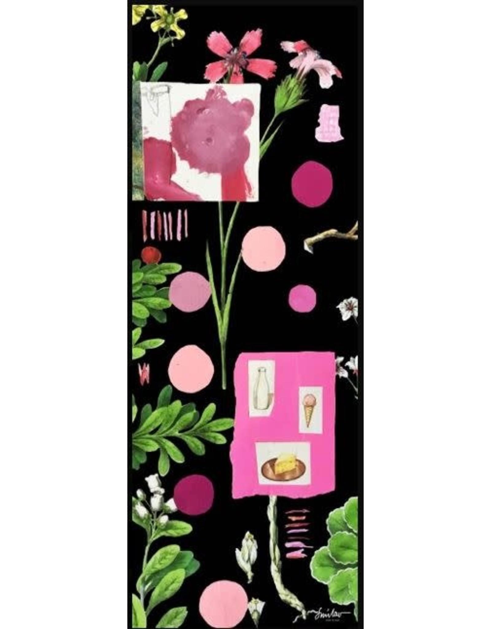Smilow + Mathiesen Black Botanical Pink Scarf | Pamela Smilow