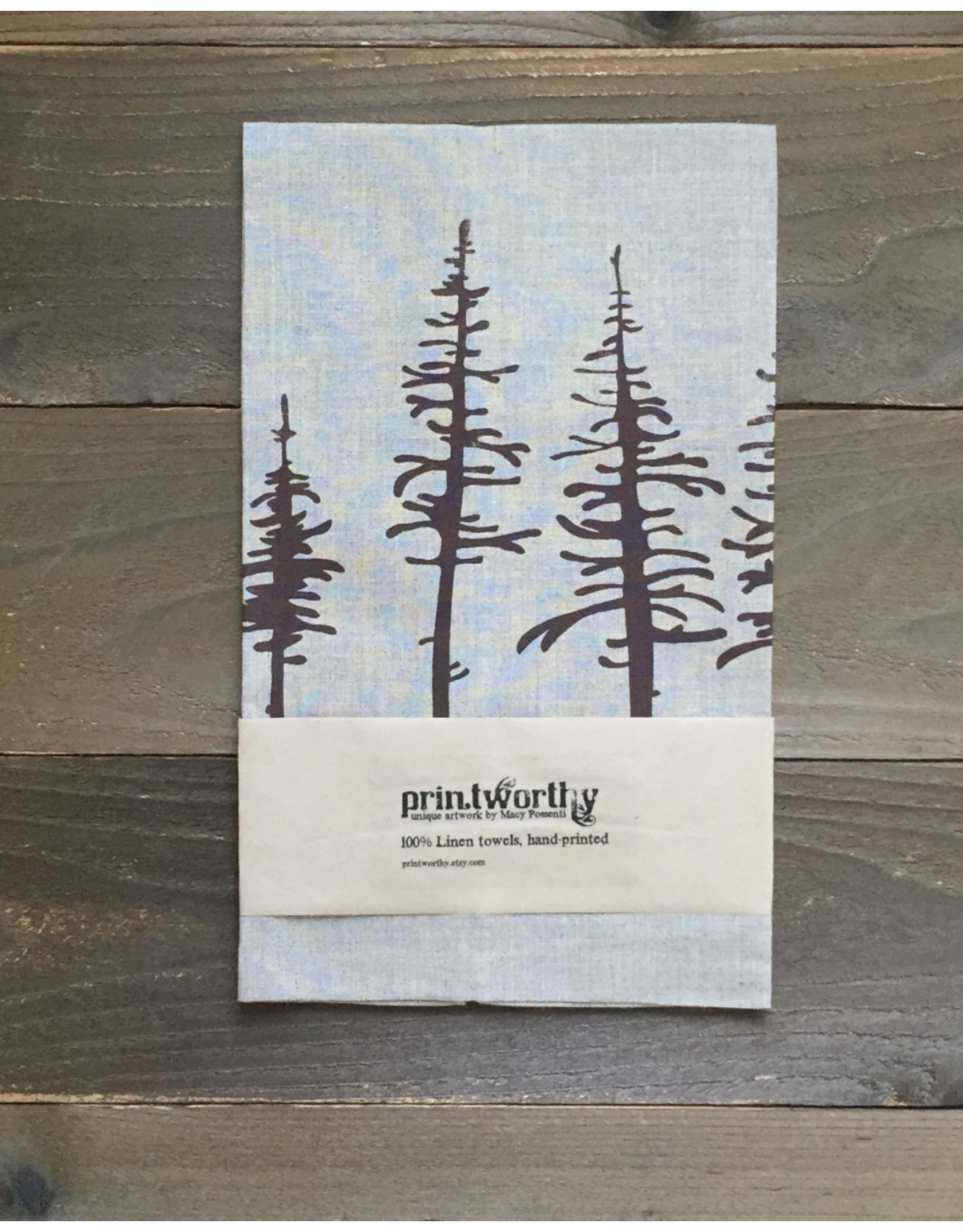 Printworthy Arts Spruce Trees Tea Towel | Macy Possenti
