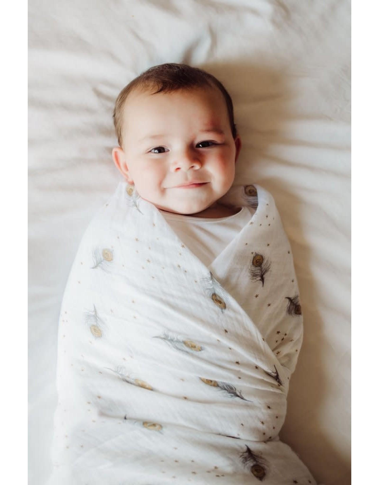 Malabar Baby Organic Muslin Swaddle (magical feathers) | Malabar Baby