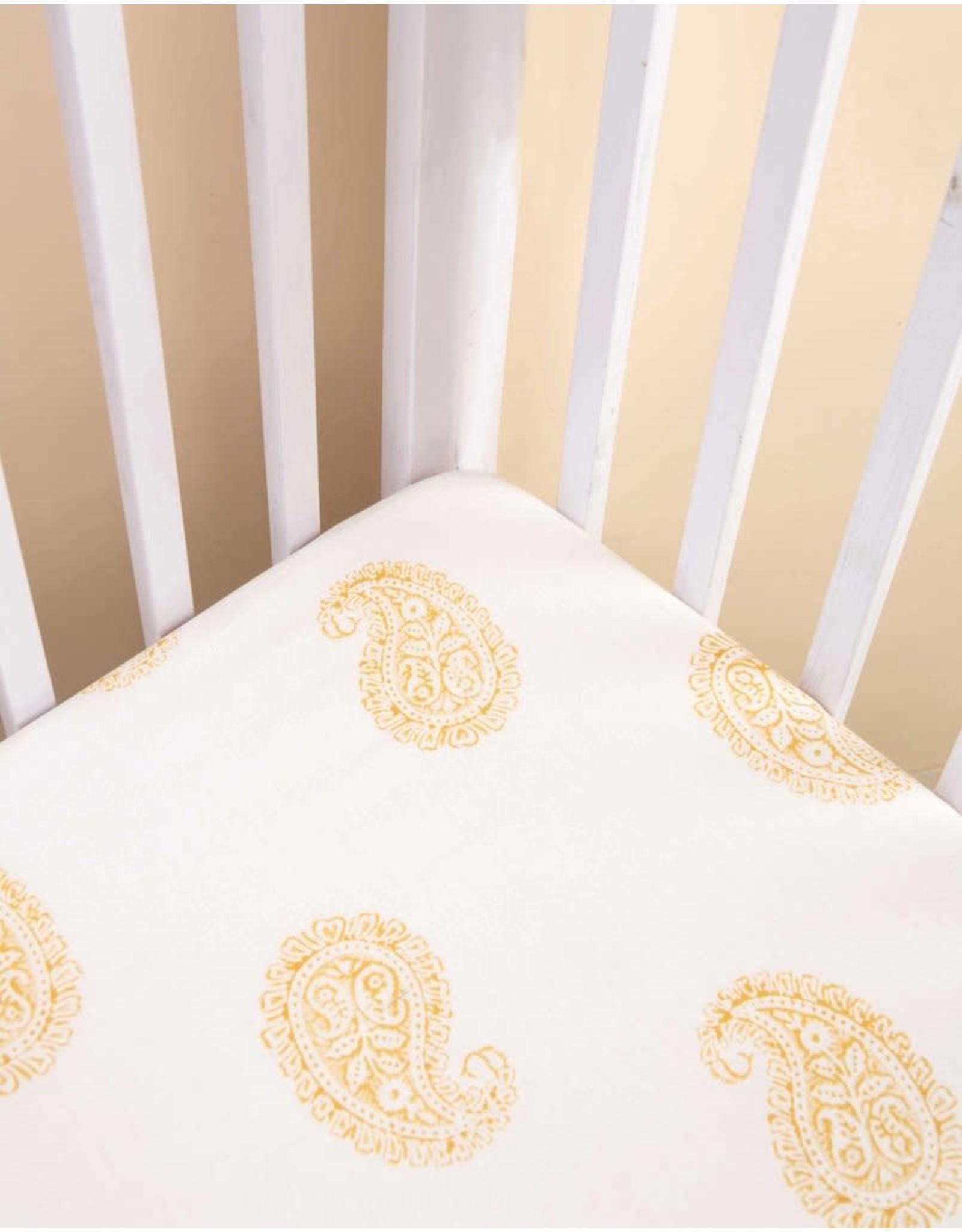 Malabar Baby Fitted Crib Sheet (mustard paisley) | Malabar Baby