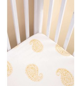 Malabar Baby Fitted Crib Sheet (mustard paisley)