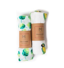 Malabar Baby 2 Pack Organic Cotton Swaddle (tropical paradise)