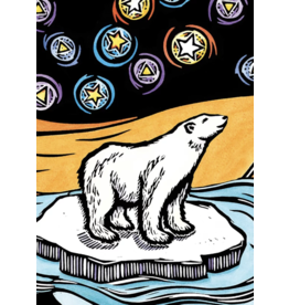 Evon Zerbetz Matted art card polar bears starry night