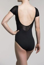 Ainsliewear Ainsliewear Cap Sleeve with Royal Lace Leotard 114RL Black Size Large