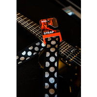 "2"" Guitar Strap - Black with Silver Polka Dots"