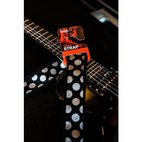 "D'Addario 2"" Guitar Strap - Large Polka Dots - Silver on Black"