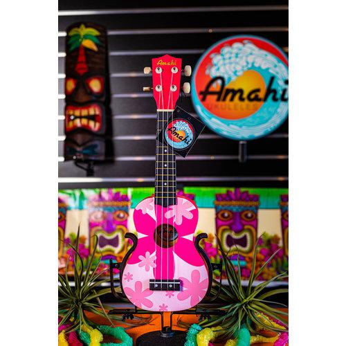 Amahi Amahi Pink Flower Ukulele, Soprano