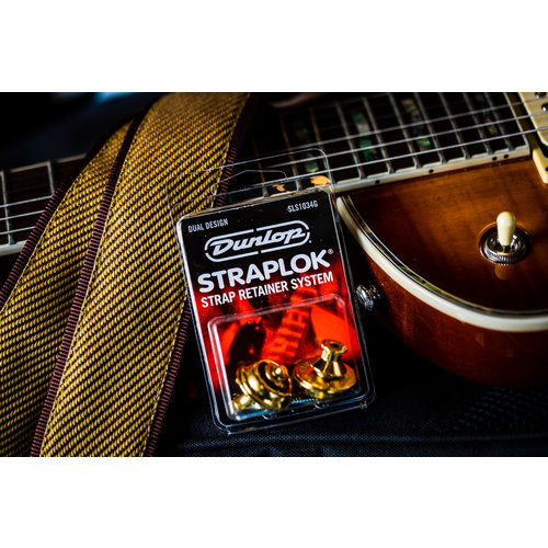 Dunlop STRAPLOK Strap Retainers Dual Design - GOLD