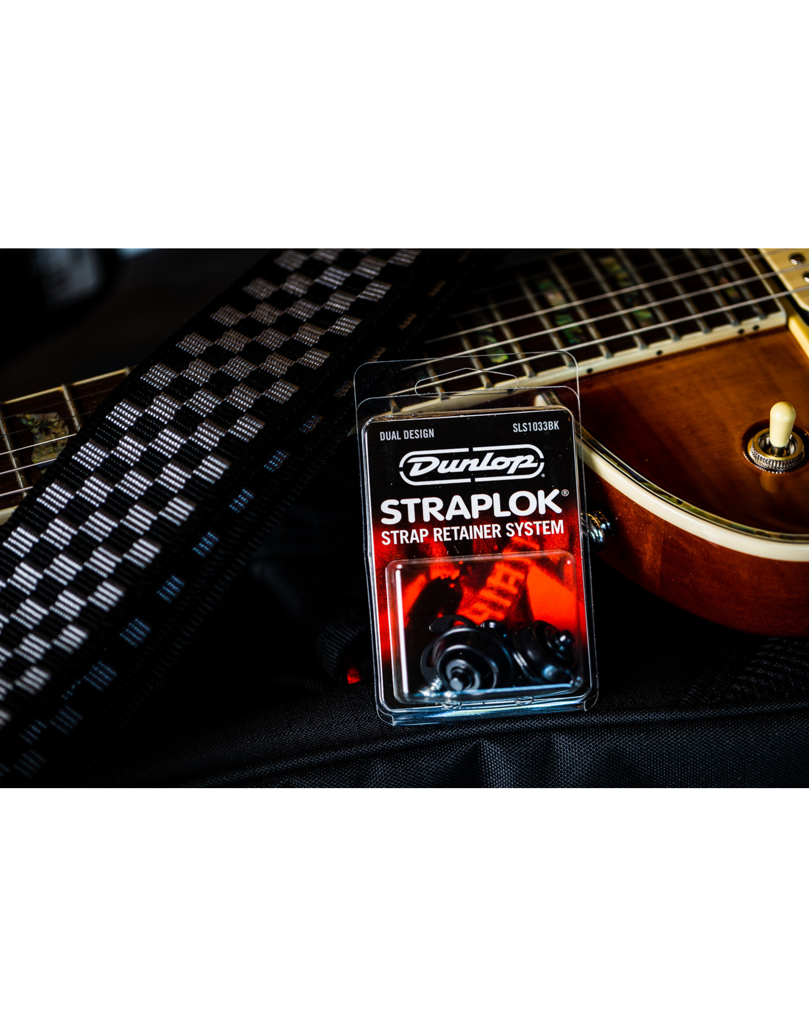 Dunlop STRAPLOK Strap Retainers Dual Design - BLACK OXIDE