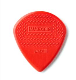 Dunlop Dunlop Nylon Max Grip Jazz III Guitar Pick - Red Nylon