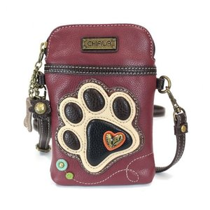 Chala Chala Cell Phone Xbody - Ivory Paw Print - maroon