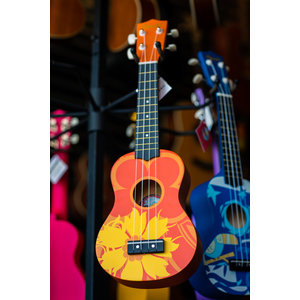 Amahi Amahi Orange Flower Ukulele, Soprano