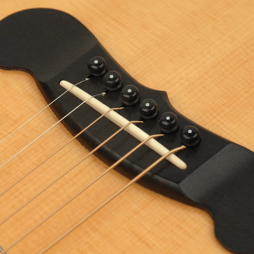 D'Addario Plastic Bridge Pin Set - Ebony w/ Ivory Dot
