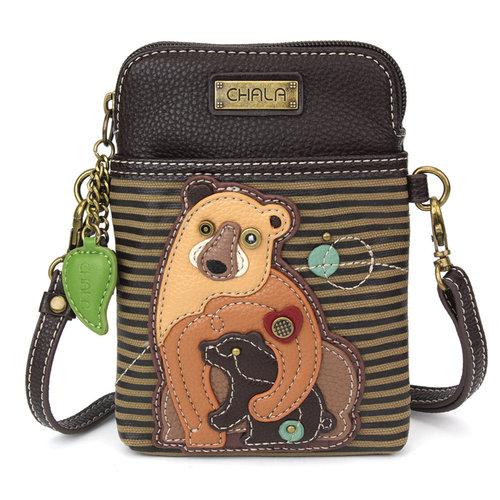 Chala CellPhone Crossbody - Two Bears - olive stripe