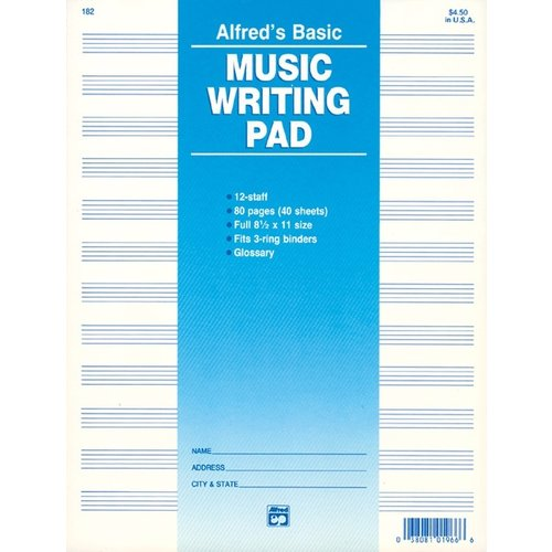 Alfred Music Music Writing Pad - 12 Stave Staff Paper (80 pages)