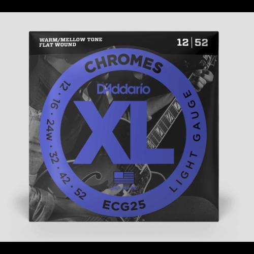 D'Addario Chromes 12-52 Flat Wound Electric Guitar Strings
