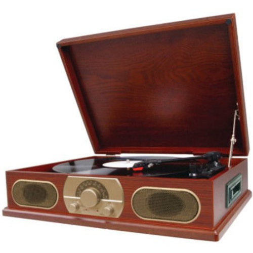 Studebaker Studebaker SB6052C Retro Wooden Turntable (33/45/78 RPM) AM/FM/Cassette (Cherry)