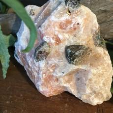 Orange Calcite Actinolite Apatite Raw From Ontario