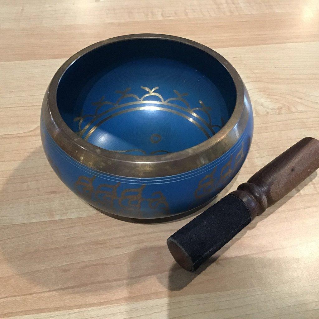 Blue Patterned Singing Bowl
