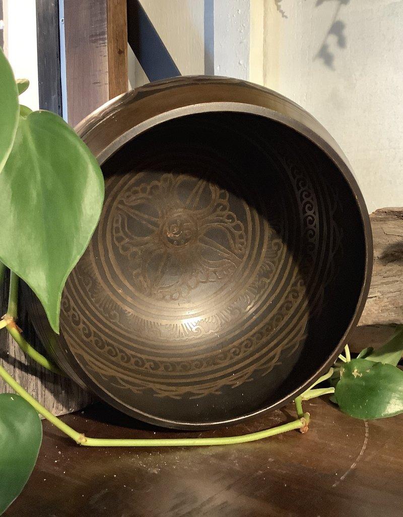 Brown and Black Singing Bowl Large