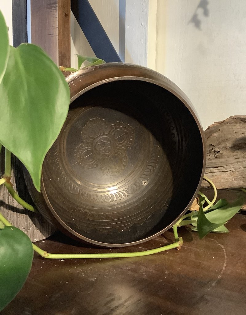 Brown and Black Singing Bowl Small