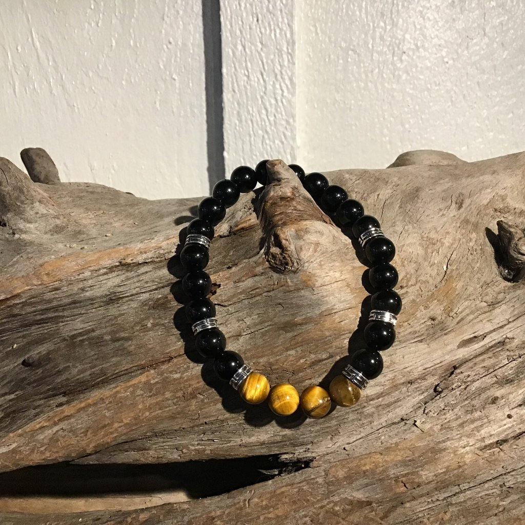 Black Obsidian and Tigers Eye Bracelet