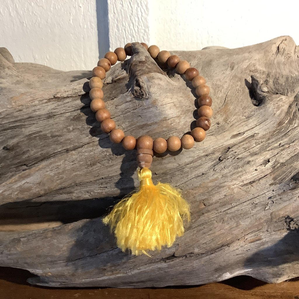 Wood Mala Bead Bracelet With Tassel