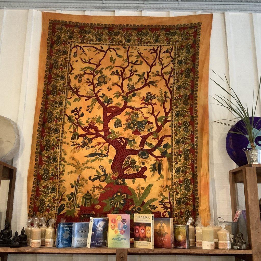 Tree and Bird Tapestry Yellow