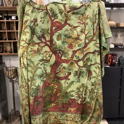Tree and Bird Tapestry Green