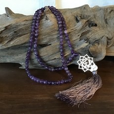Amethyst Mala with Lotus Pendant