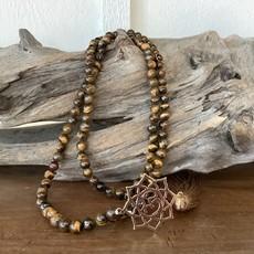 Tigers Eye Mala with Lotus Pendant