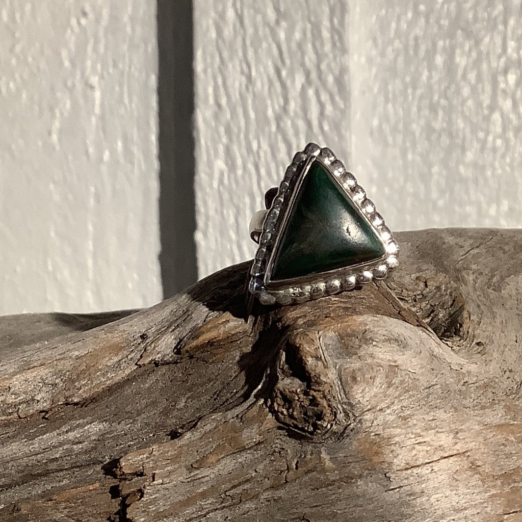 Bloodstone Silver Ring Size 7.5