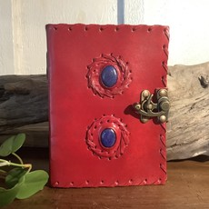 Red Leather Journal with Lapis Lazuli Stones