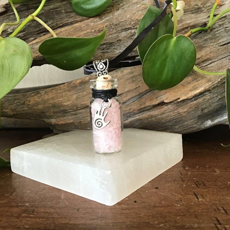 Rose Quartz Stone Chip Bottle Necklace