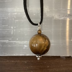 Tigers Eye Sphere Rope Necklace