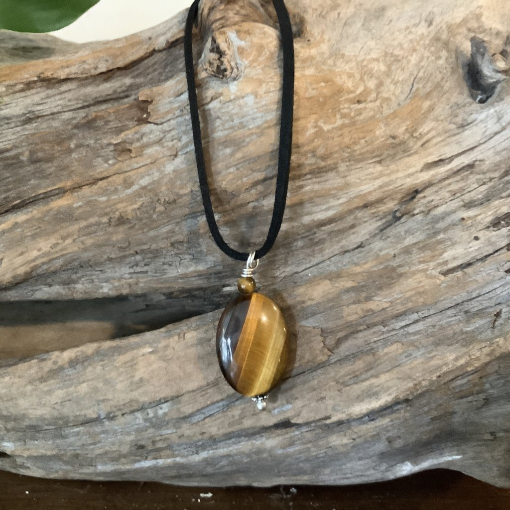 Tigers eye oval rope necklace