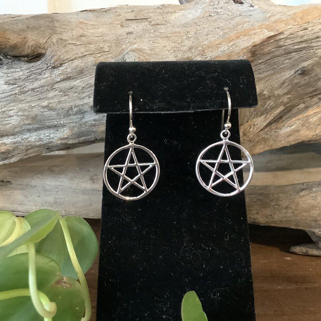 Pentacle Silver Earrings