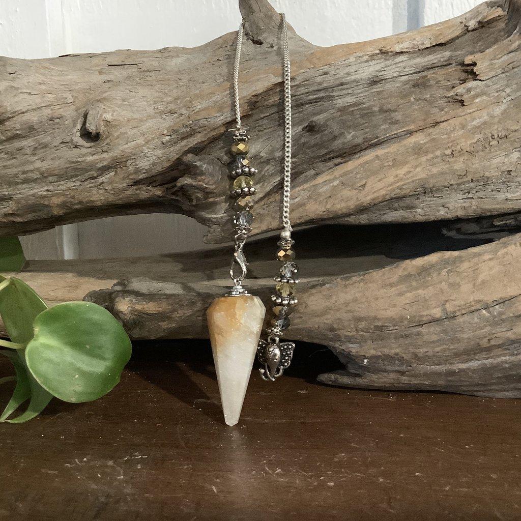 Citrine pendulum with elephant charm