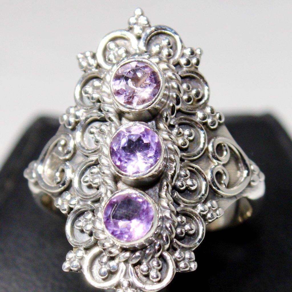 Amethyst 3 Stone Ring Size 6