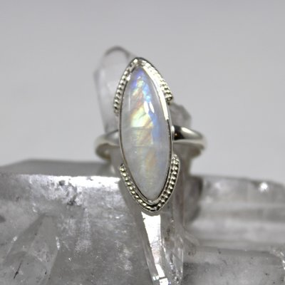 Moonstone Silver Ring Size 6
