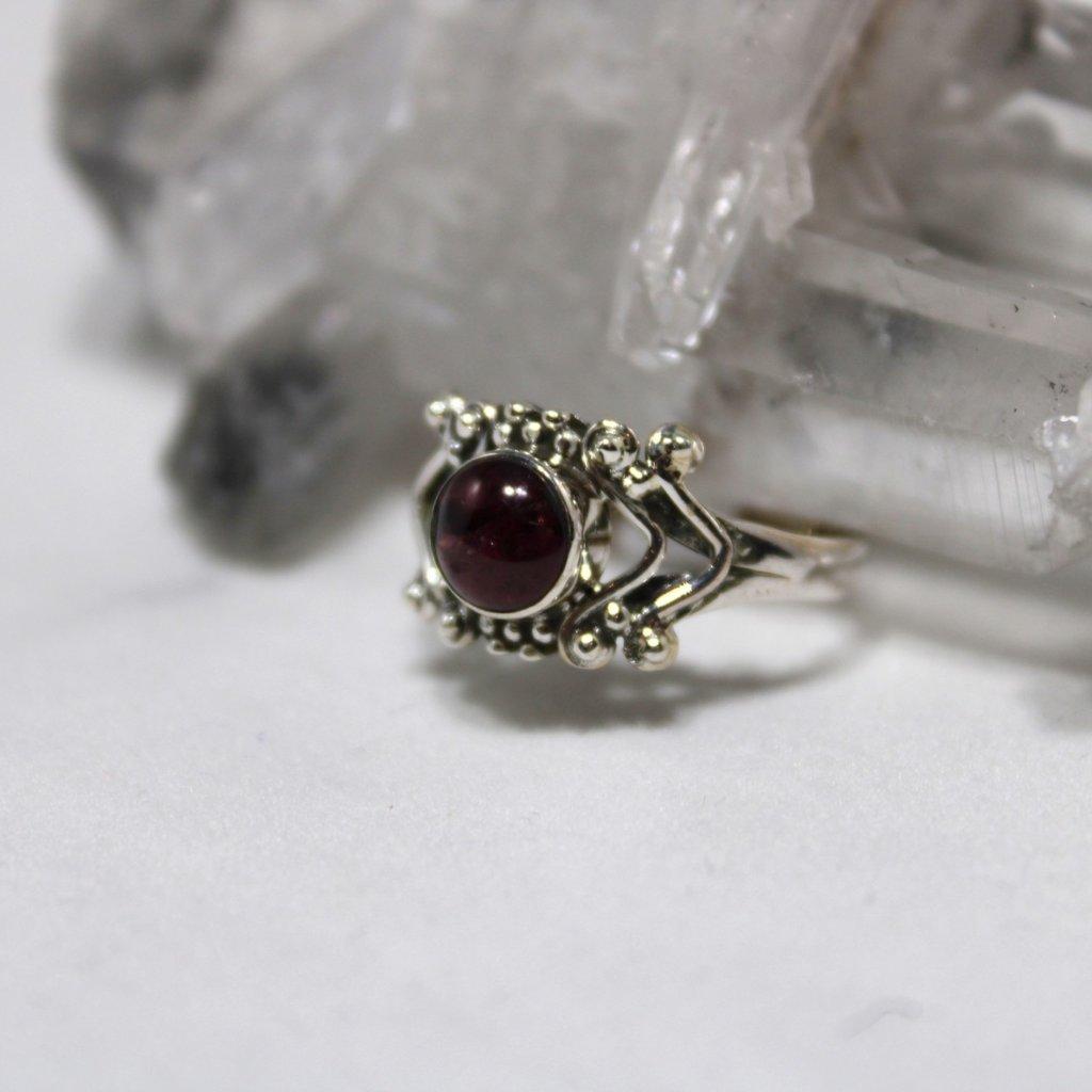 Garnet Round Antique Silver Ring  Size 7