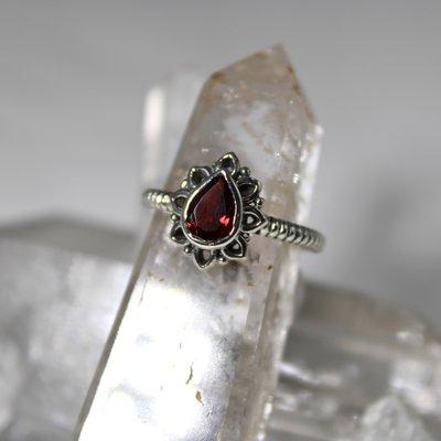 Garnet Tear Drop Silver Ring Size 6