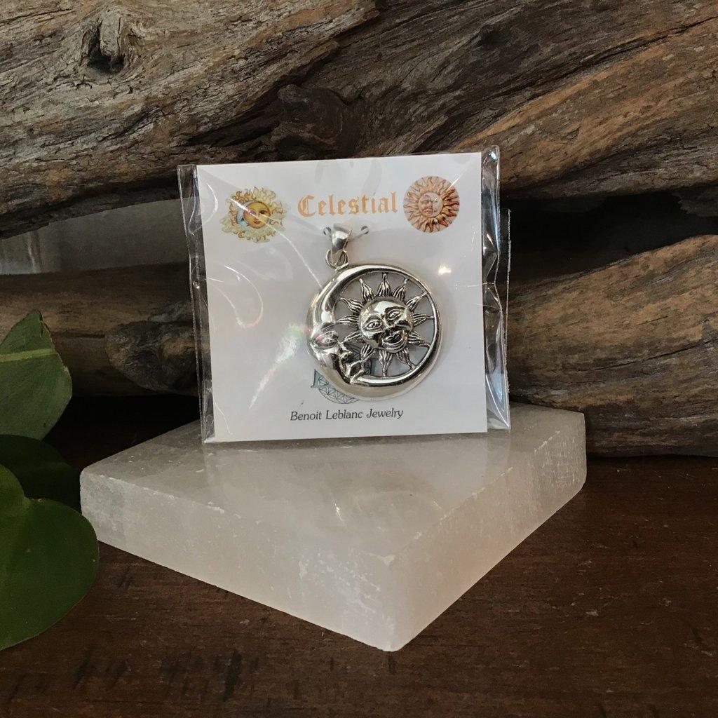 Silver Half Moon and Sun Pendant