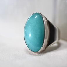 Aquamarine Silver Ring Size 6.5