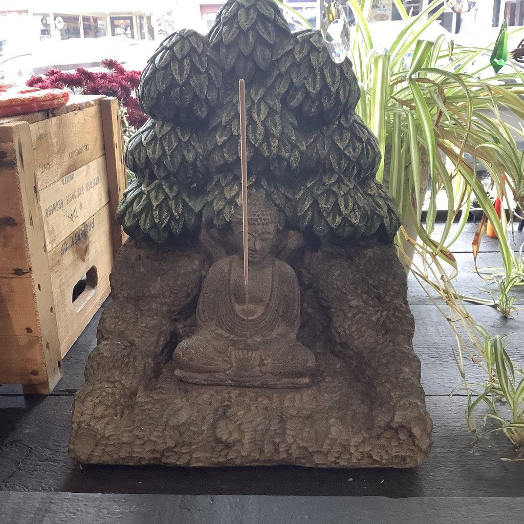 Volcanic Stone Alter Incense Holder - Buddha and Tree