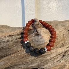 Carnelian with Lava Beads