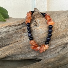 Carnelian and Blue Goldstone Bracelet